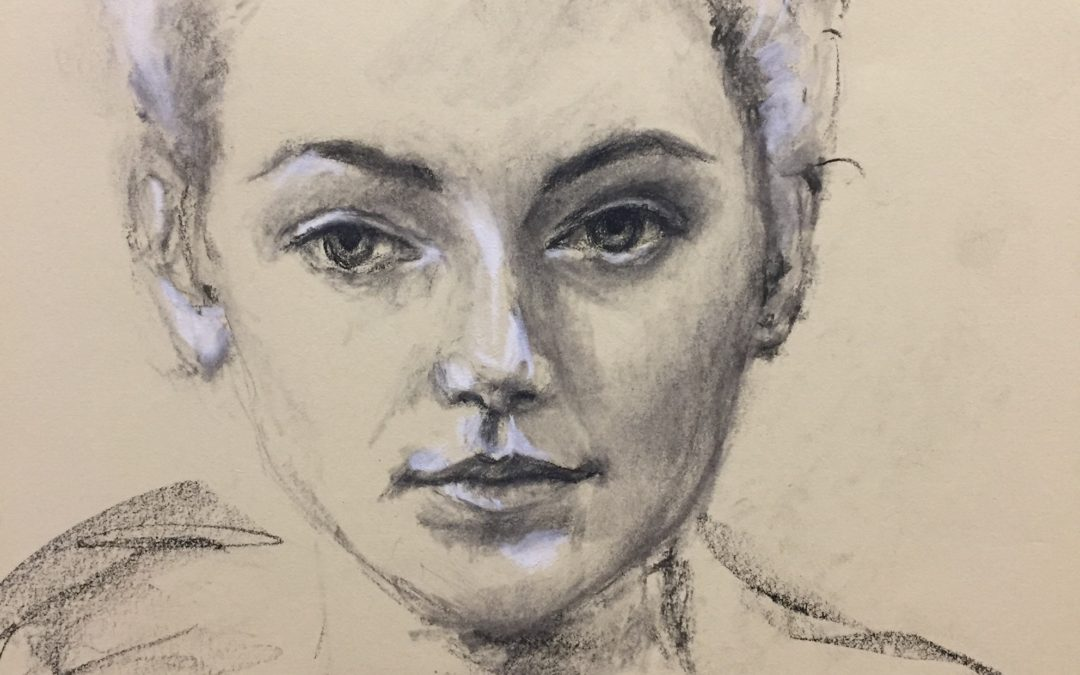 A quick pencil/white charcoal portrait drawing
