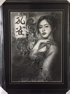 Peacock Beauty – charcoal and calligraphy